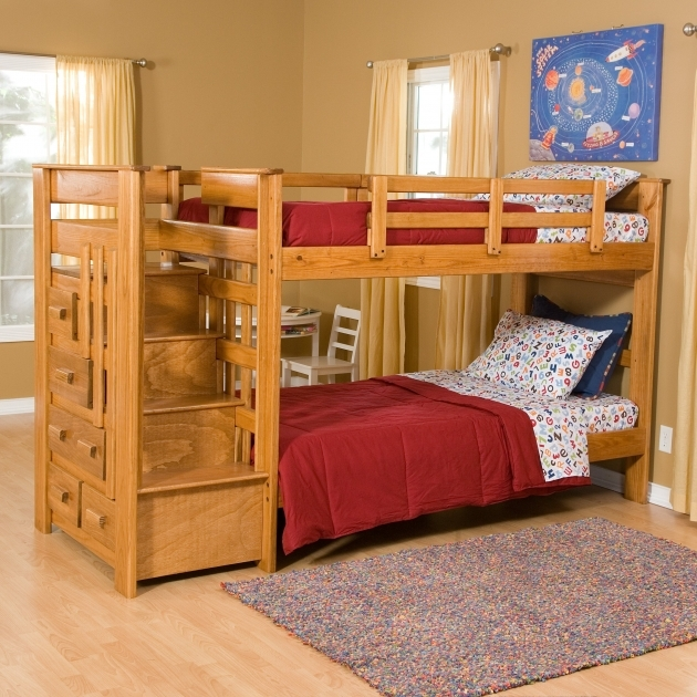 Wood Bunk Beds With Stairs Brown Varnishes Oak And Storage Drawers Images 19