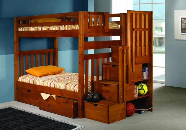 Wood Bunk Beds With Stairs Design Ideas Pics 22