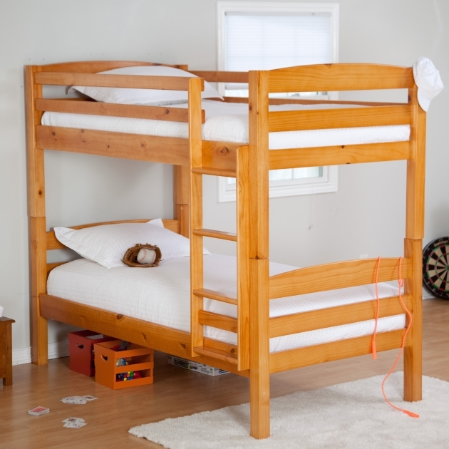 Wood Bunk Beds With Stairs Light Brown Lacquer Pine With Ladder Pics 70