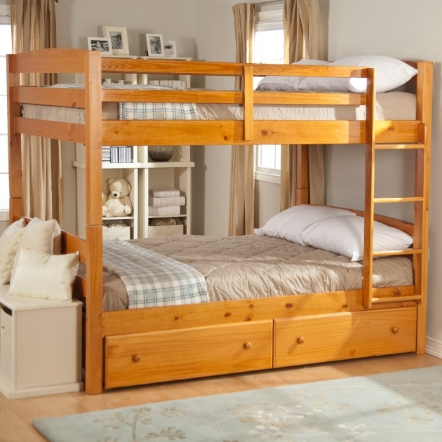 Wood Bunk Beds With Stairs With Drawers Based Rectangle Gray Rug Images 22