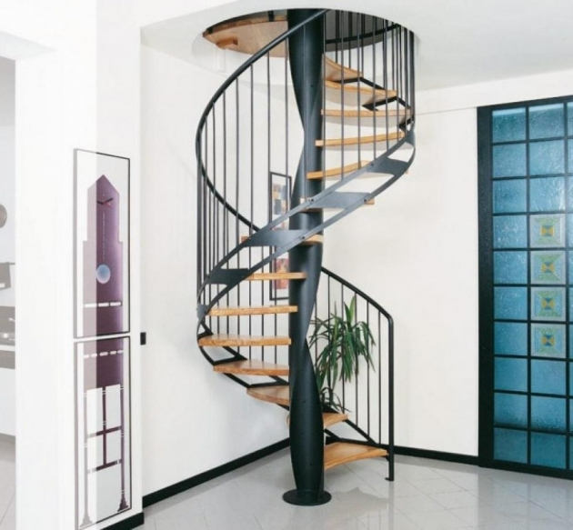 Wrought Iron Spiral Staircase Home Interior Decoration Including Light Blue Screen Sliding Room Divider And Floating Oak Wood Staircase Step Image 88
