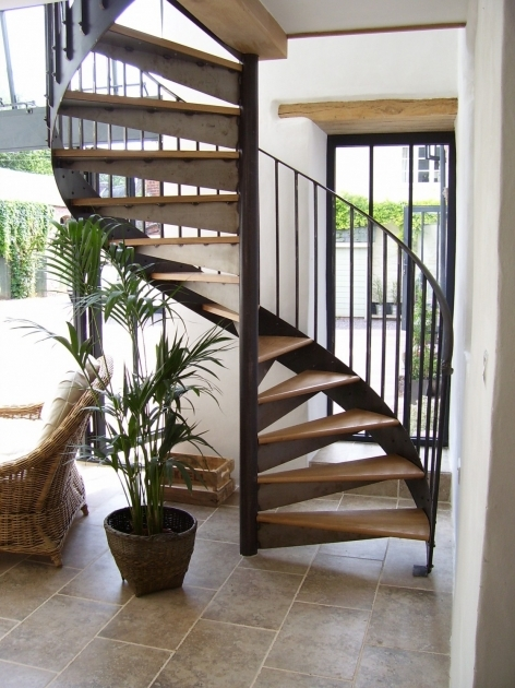 Wrought Iron Spiral Staircase Ideas With Brown Solid Wood Steps And Dark Brown Finish Handrail Plus Baluster Pic 71