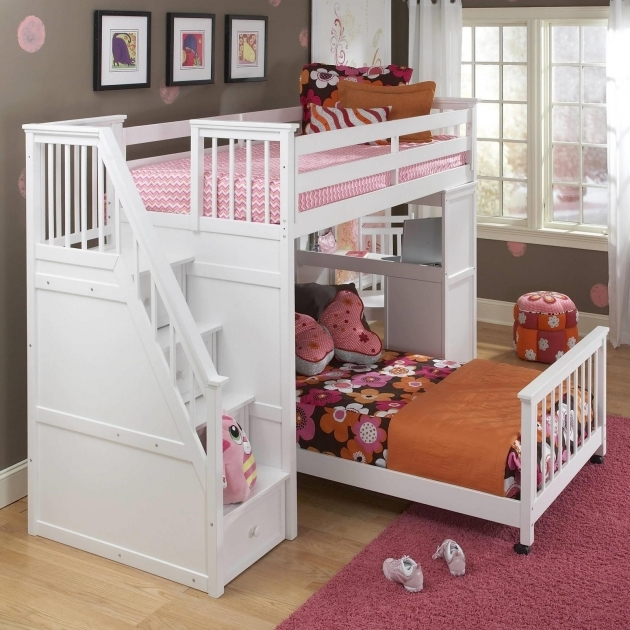 Childrens Bunk Beds With Stairs And Desk For Girls Bedroom Pic 22