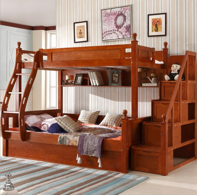 Childrens Bunk Beds With Stairs Customizable American Country Wood Pics 94