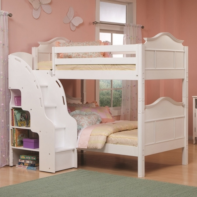 Childrens Bunk Beds With Stairs White Furniture Design Ideas Fro Girl Bedroom Pictures 80