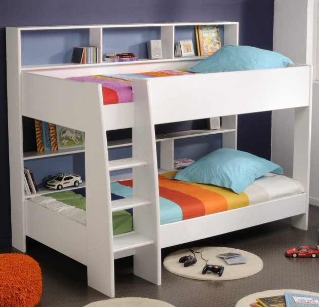 Childrens Bunk Beds With Stairs White Stained Solid Wood With Bookcase And Ladder Added Blue Pillowcase Pictures 49