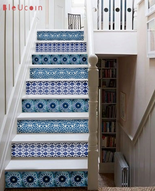 Decorative Stair Risers Blue Pottery Stair Decal 10 Strips With 120cm Length Bleucoin Pics 47