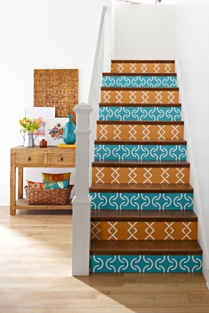 Decorative Stair Risers Paint Accent Color Pictures 16