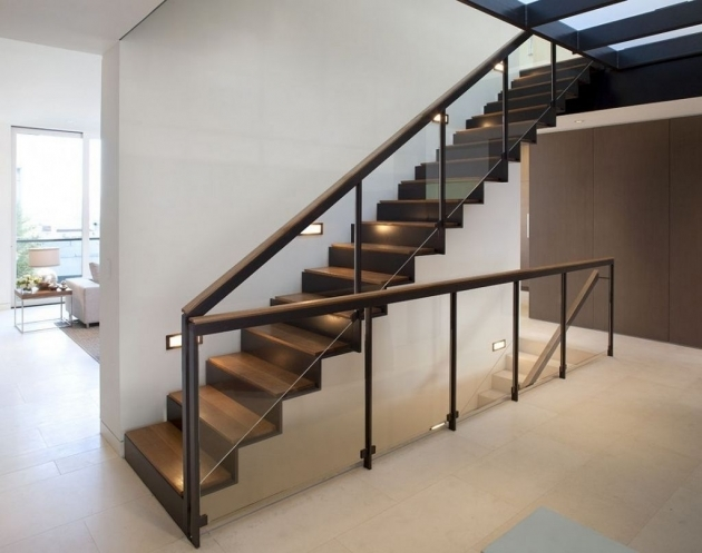 Glass Stairs Railing Design Minimalist House With White Wall Paint And Wood Footing Staircase Pictures 49