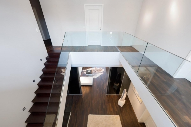 Glass Stairs Railing Designs Modern White Concrete Pic 02