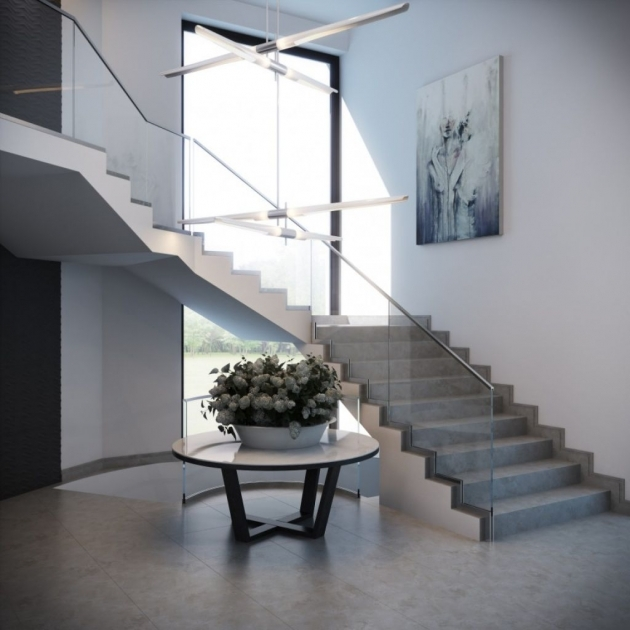 Glass Stairs Railing Minimalist House With Concrete Stair Images 81