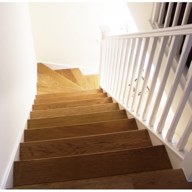 Oak Stair Treads Prefinished L Shaped Stair Design With Brown Oak Wood Treads And White Handrail Also Banister Pics 34