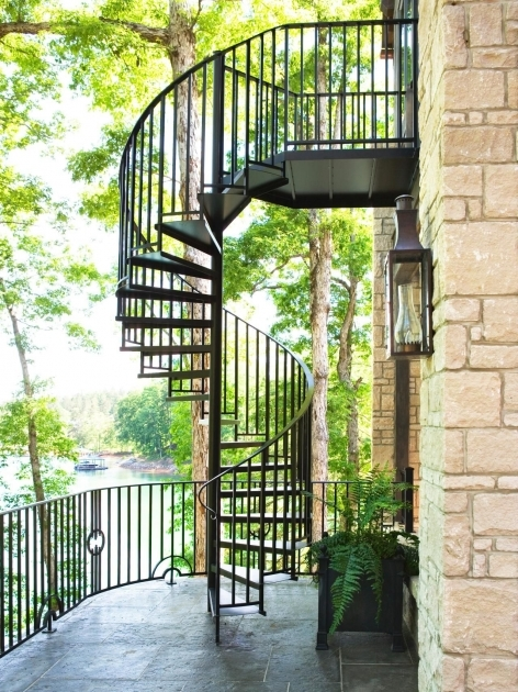 Outdoor Spiral Staircase Kits Black Railing Exterior Images 24