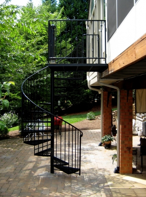 Outdoor Spiral Staircase Kits Home Exterior Decoration Black Wrought Iron Metal Staircase Railing Images 12