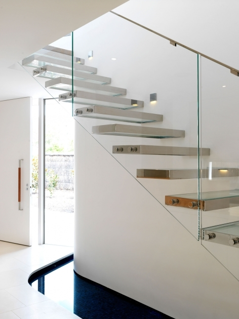 Small House Staircase Designs Metal Step Ladders With Floating Stairs And Glass Balustrade System Added Iron Handrails Photo 00