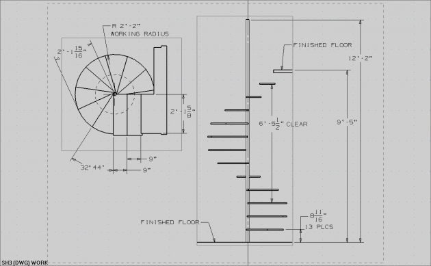 Spiral Staircase Measurements Drawing Simple Design Images 82