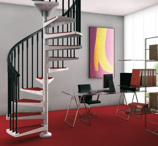 Staircase Ideas For Tiny Houses Spiral Staircase Design For Small Space With Black Banister Red Floor Picture 15