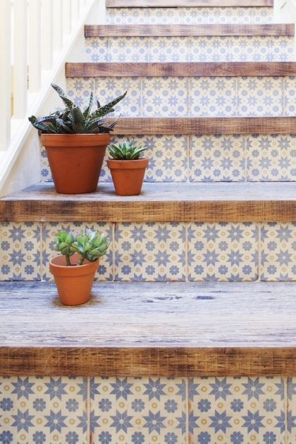 Wood Stair Treads With Tile Risers And Ornament Pics 81