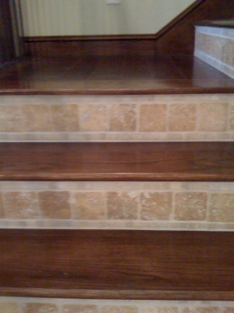 Wood Stair Treads With Tile Risers Dark Wooden Ideas Photo 68