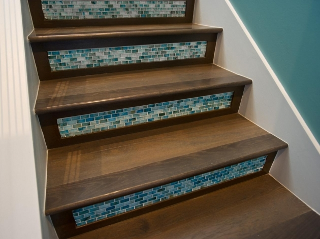 Wood Stair Treads With Tile Risers Decor Ideas Images 89