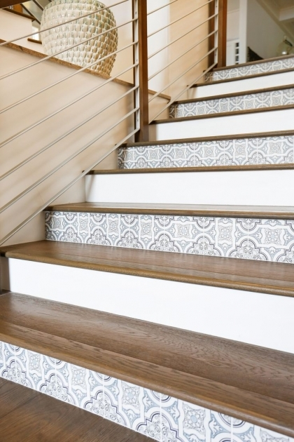 Wood Stair Treads With Tile Risers Design Image 35