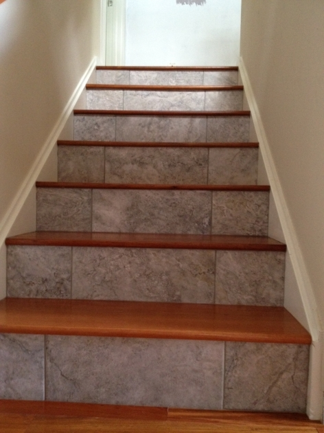 Wood Stair Treads With Tile Risers Flooring Design Photo 17
