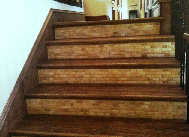 Wood Stair Treads With Tile Risers Foyer Pic 05