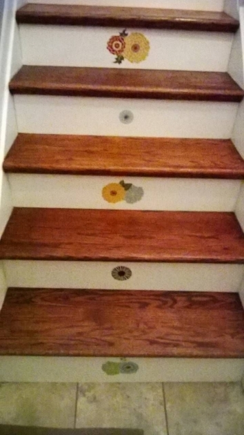 Wood Stair Treads With Tile Risers Home Interior Design With Brown Oak Tread Covers And White Risers Pic 13
