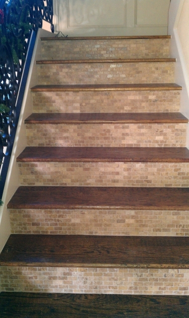 Wood Stair Treads With Tile Risers Ideas Picture 31