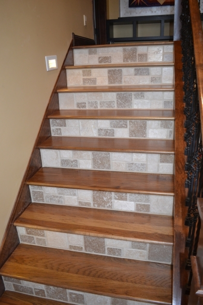 Wood Stair Treads With Tile Risers Staircase Installation Raven Hardwood Flooring Images 82