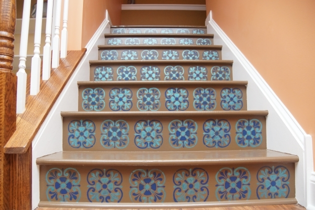 Wood Stair Treads With Tile Risers Tuscan Tile Stencil Design Pic 16