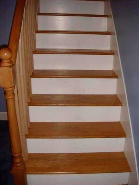Wood Stair Treads With Tile Risers With Superior Carpet On Hardwood Stairs White Oak Stairs With Risers Image 51