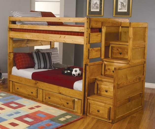 Brown Wooden Bunk Beds Stairs Drawers With Red Blanket Plus Picture 85