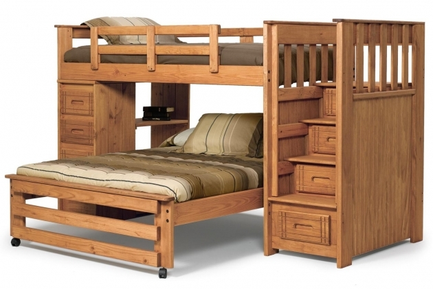 Bunk Beds Stairs Drawers Collection With Unfinished Wooden Bed Frames Picture 48