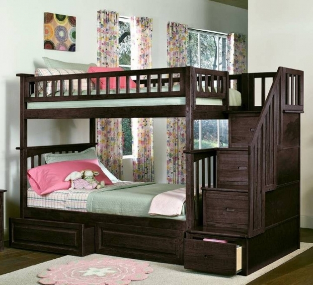 Bunk Beds Stairs Drawers Furniture Black Wooden Toddler With Stairs And Hidden Storage Image 05