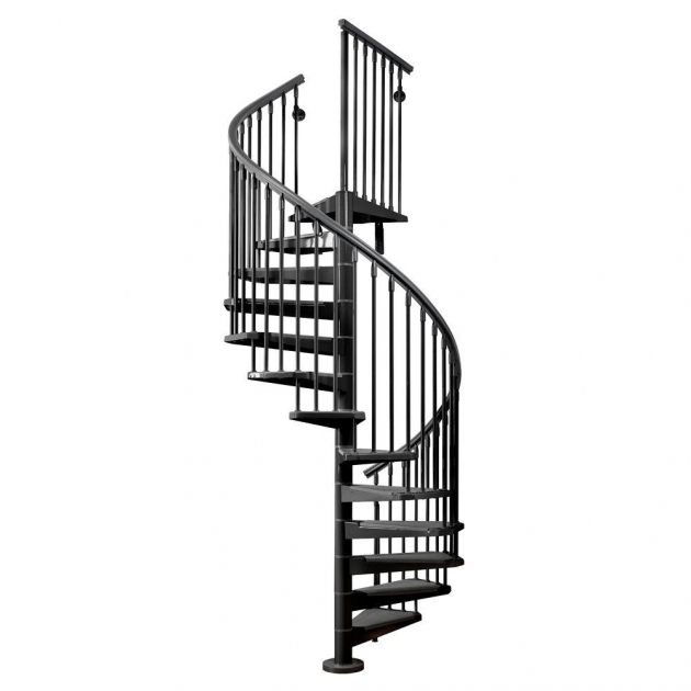 Circular Staircase Exterior Arke Eureka 63 In Black Spiral Staircase Kit K21009 Pictures 53