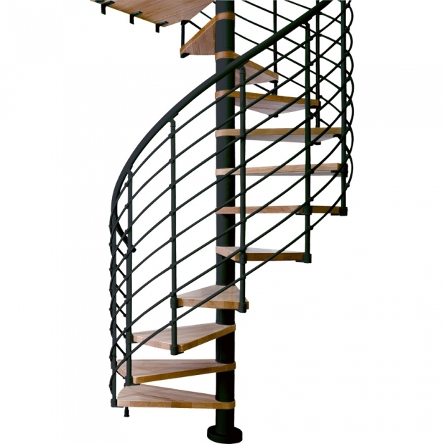 Circular Staircase Exterior Decoration With Black Wrought Iron Spiral Stair And Floating Oak Wood Staircase Step Pic 44