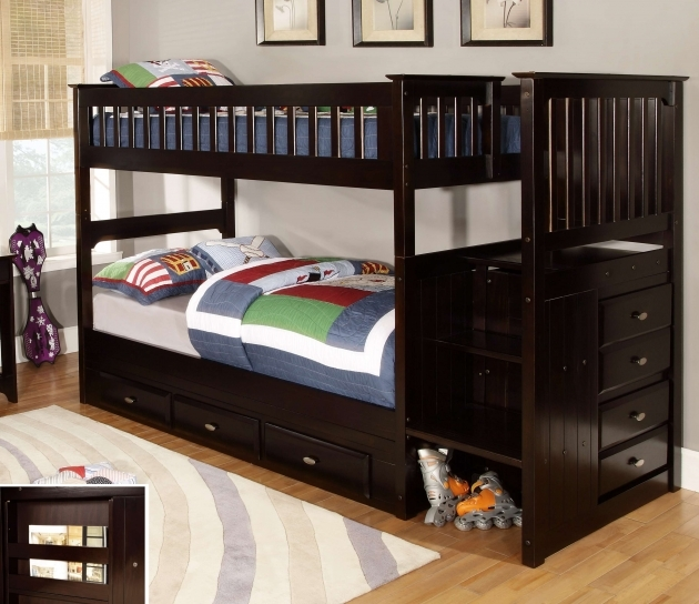Espresso Twin Bunk Beds With Stairs Picture 13