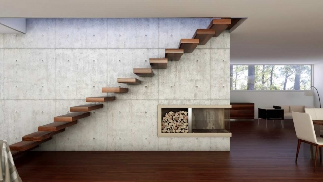 Floating Concrete Stairs Wall Design With Red Wood Floor And Corner Fireplace Pictures 44