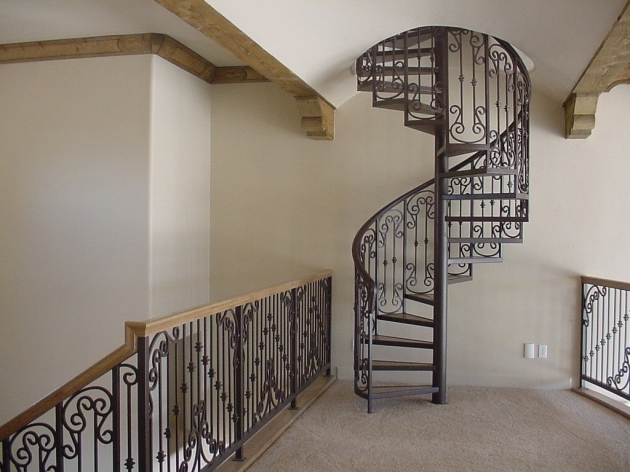 Metal Staircase Design Dark Finish Iron Spiral Staircase With Round Handrail And Cool Ornaments Baluster Images 93