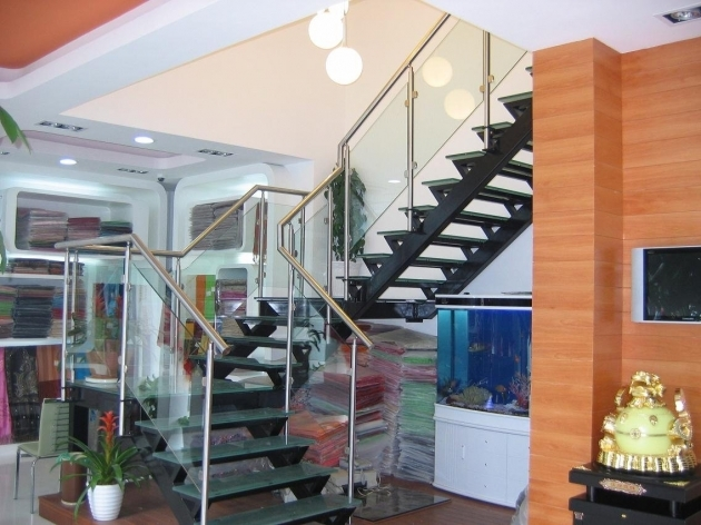 Metal Staircase Design Public Curved Staircase Steel Structure Glass Treads And Railing Images 16