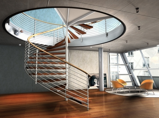 Round Stairs Design With Modern Arm Chairs And Small Round Coffee Table Photo 77
