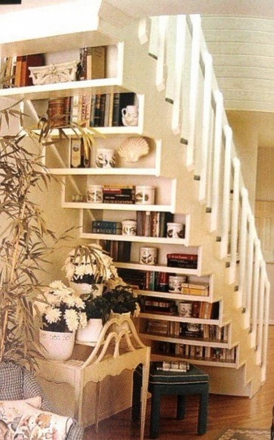 Shelves Under Stairs Storage Solution With Natural Ornaments Image 97
