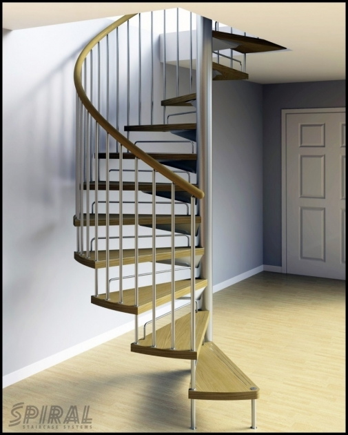 Small Spiral Staircase Design Ideas Using Grey Wall And Triangle Brown Wooden Steps Pics 14