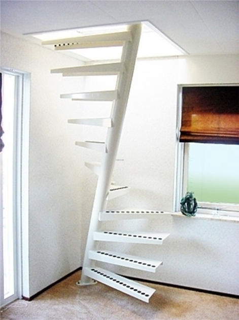 Small Spiral Staircase With White Metal Spiral Staircase Mounted Images 08