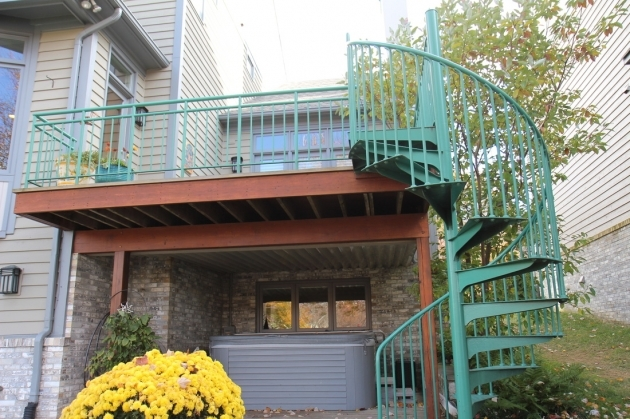 Spiral Staircases For Decks Rear Deck Wspiral Stairs Newport Shores Cluster Association Pic 72