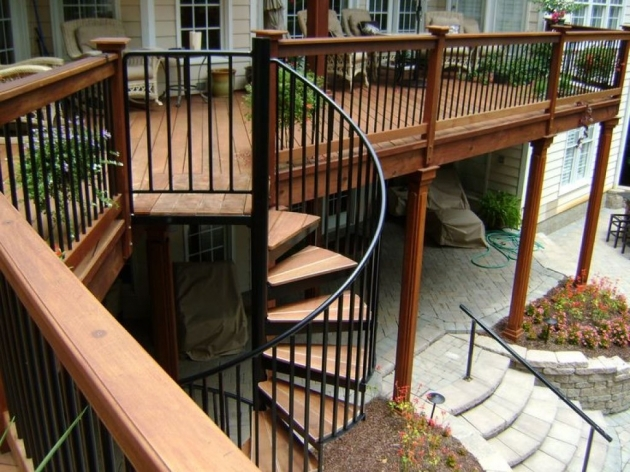 Spiral Staircases For Decks Wooden Deck With Spiral Staircase Deck Staircase Design Ideas Picture 86