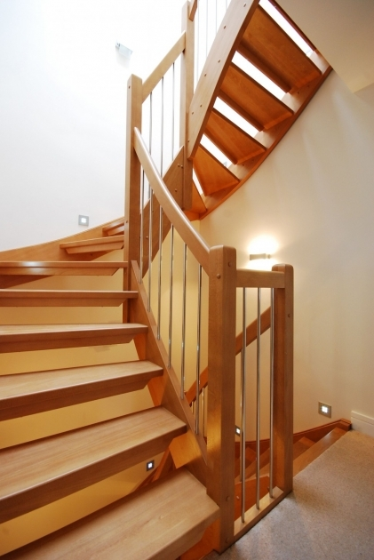 Spiral Wooden Staircase Designs Combined Simple Iron Baluster Attached White Wall Painted Ideas Picture 38