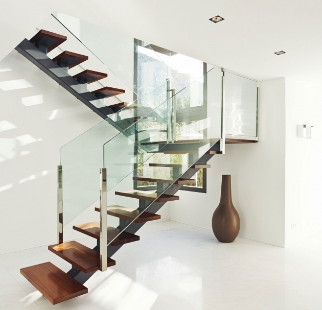 Staircase Glass Railing Designs Contemporary With Wooden Floating Steps Picture 26