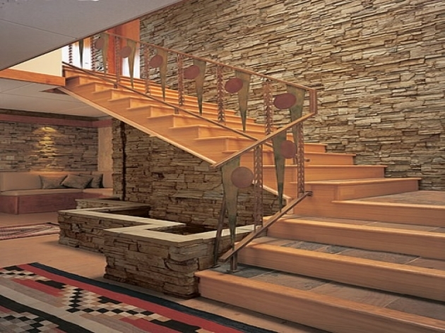 Tiles On Stairs Wall Decoration Architecture Interior Stone Wall Veneer In Stairway And Stairs Flooring Picture 03